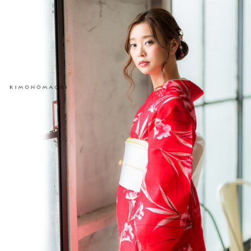 【夏着物】紅色 百合