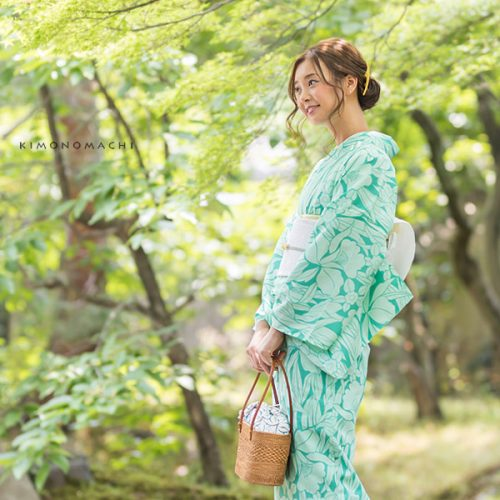 【夏着物】青緑色 蘭と小花