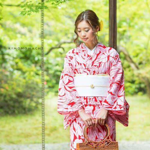 【夏着物】紅色 蘭と小花